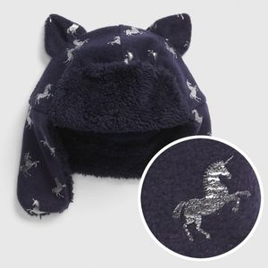 NWT Baby Gap Navy Unicorn Trapper Hat